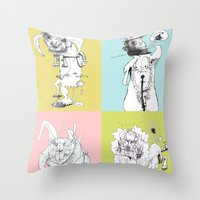 4 Little Animals Throw Pillow