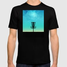 Disc Golf Basket Silhouette SMALL Black Mens Fitted Tee
