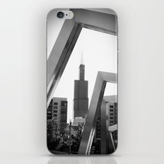 Sears Tower Sculpture Chicago Illinois Black and White Photo iPhone & iPod Skin