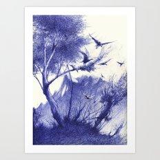 blaue Vögel Art Print