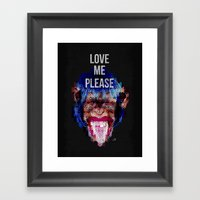 Monkey need love Framed Art Print