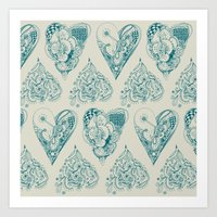 Blue And Beige Tangled H… Art Print