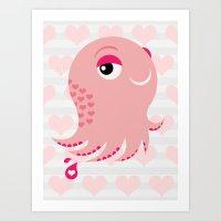Squid Of Love (Valentine… Art Print