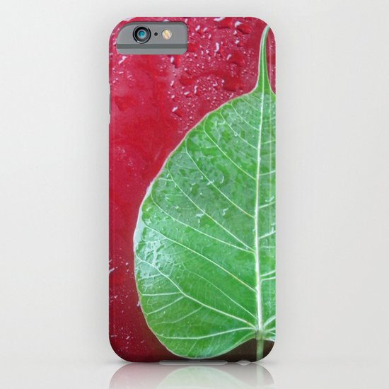 Leaf on red iPhone & iPod Case