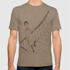 girl on a stair Mens Fitted Tee Tri-Coffee SMALL