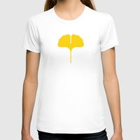 Ginkgo Leaf Womens Fitted Tee White SMALL