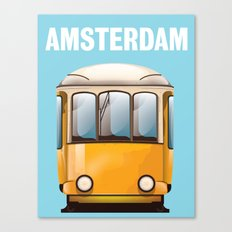 Amsterdam yellow tram travel poster Canvas Print