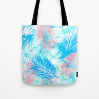 Bright pink blue watercolor palm tree leaf pattern Tote Bag