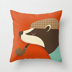 Country Badger Throw Pillow