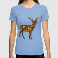 Animal Mosaic - The Deer Womens Fitted Tee Tri-Blue SMALL