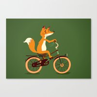 Little fox on the bike Canvas Print