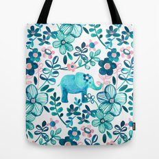 Dusty Pink, White and Teal Elephant and Floral Watercolor Pattern Tote Bag