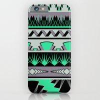 art deco stripes - green & pale purple iPhone 6 Slim Case