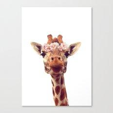Flower crown giraffe Canvas Print