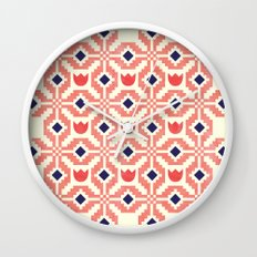 Coral Flowers Wall Clock