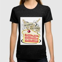 Let Them Eat Cake Tattoo… Womens Fitted Tee Tri-Black SMALL