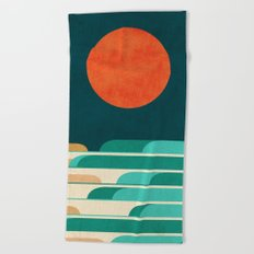 Chasing wave under the red moon Beach Towel