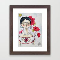 Frida with Poppies Framed Art Print