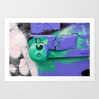 Purple and green lock Art Print