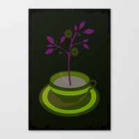 Purple Planted Teacup Canvas Print