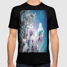 Flowers Lavender Turquoise Aqua Blue Mens Fitted Tee Black SMALL