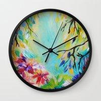 BLISS - Stunning Bold Colorful Idyllic Dream Floral Nature Landscape Secret Garden Acrylic Painting Wall Clock