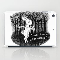 Ghost bunny likes coffee iPad Case