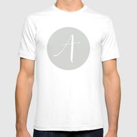 Garland Initial A - Grey Mens Fitted Tee White SMALL