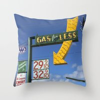 Gas for Less Throw Pillow