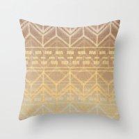 Neutral Tan & Gold Triba… Throw Pillow
