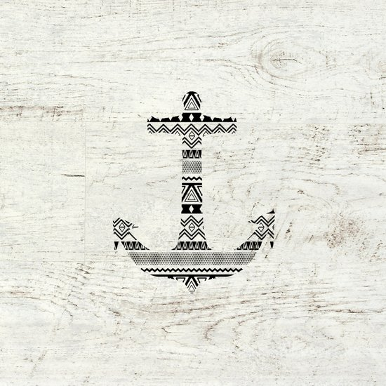 Aztec Nautical Anchor Black White Vintage Wood Art Print