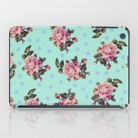 Pink Roses On Blue iPad Case