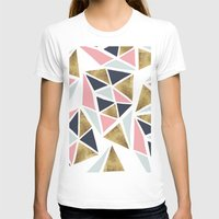 Modern geometrical pink navy blue gold triangles pattern Womens Fitted Tee White SMALL