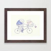 bicycle cat Framed Art Print