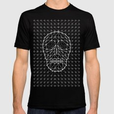 Triangle and Line Art Skull Black Mens Fitted Tee SMALL