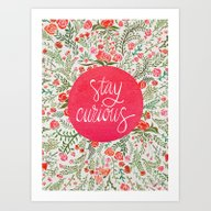 Art Print featuring Stay Curious – Pink & … by Cat Coquillette