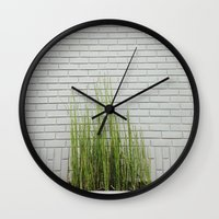 Green On White Wall Clock