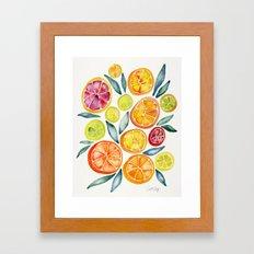 Sliced Citrus Watercolor Framed Art Print