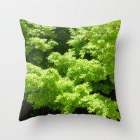 Japanese Maple Green Throw Pillow
