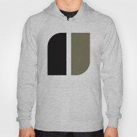 Black & gray curved corners pattern Hoody