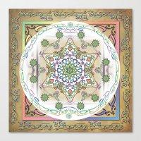 Compassion Mantra Rainbow Mandala Canvas Print