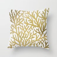 Throw Pillow featuring Gold Coral by Cat Coquillette