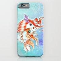iPhone & iPod Case featuring Jellyfish Girl & Goldfish by Sandra Vargas