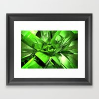 Glowing Green Abstract Framed Art Print