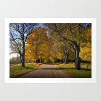 Rural country gravel road in Autumn Art Print