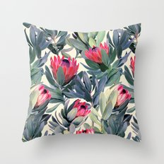 Painted Protea Pattern Throw Pillow