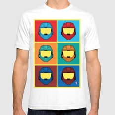 Warhol's Red vs Blue White Mens Fitted Tee SMALL