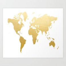 Gold Map Print Art Print