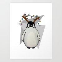 Penguin Christmas Art Print