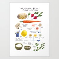 illustrated recipes: moroccan mint vegetables Art Print